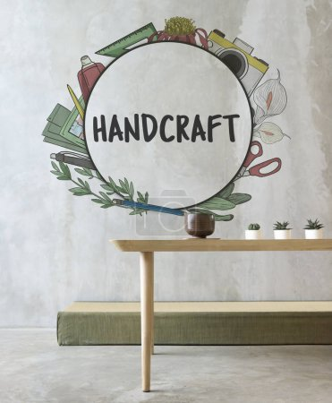 Wooden table and Handcraft Concept