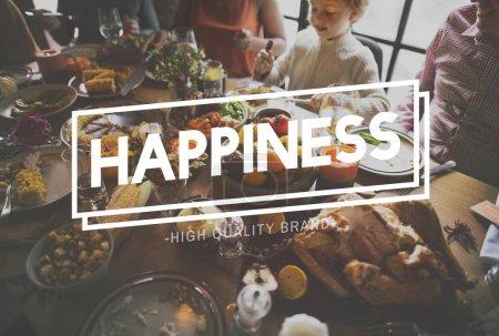Family celebrating Thanksgiving day
