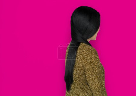 Asian Woman Back View Concept