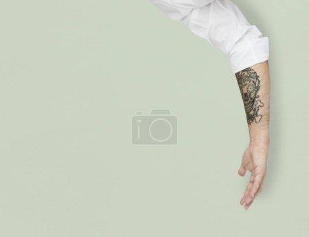 human hand with tattoo