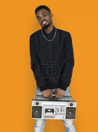 attractive African man with boombox