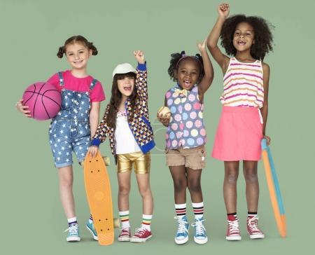 mixed ethnicity  children in the studio