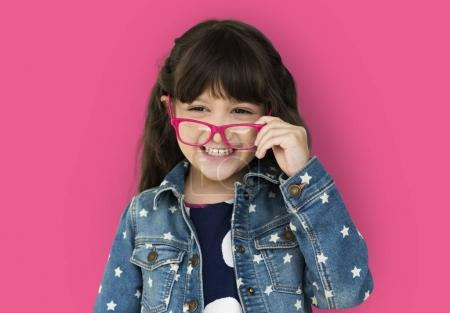 adorable little girl with glasses