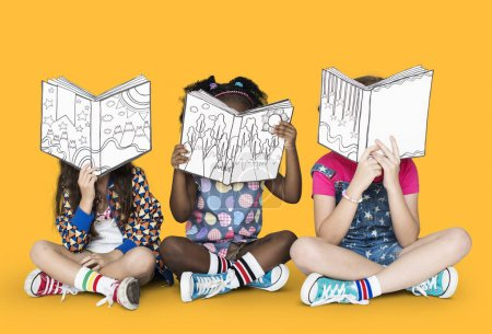 children reading paper books