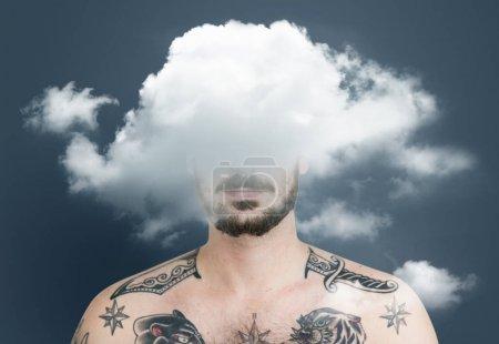 male face hidden in cloud