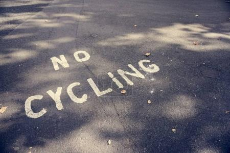 No Cycling Sign on Road