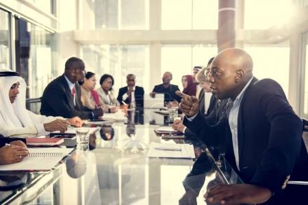multiracial people having meeting
