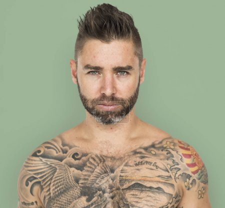 tattooed handsome man