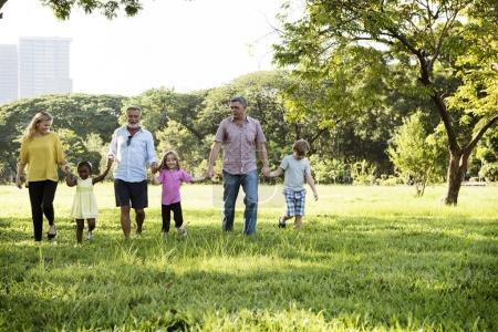 Family spending time in park