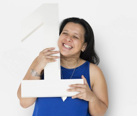 Woman Holding One Number