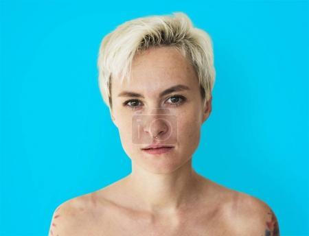 Studio shoot of blonde woman