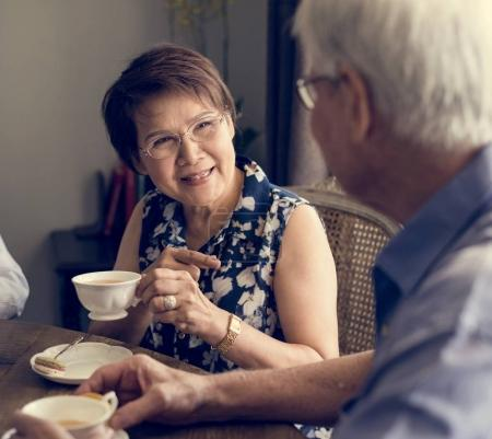 Senior Adult people drinking tea