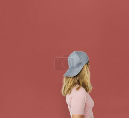 beautiful blonde woman in cap hat