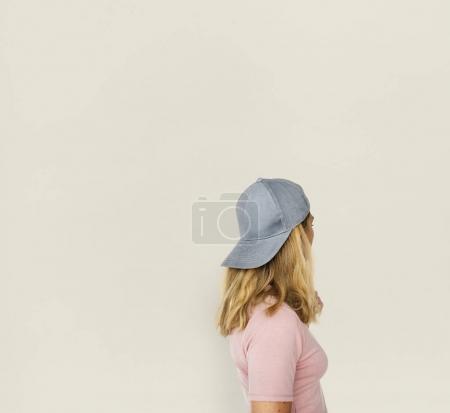 beautiful blonde woman in cap hat