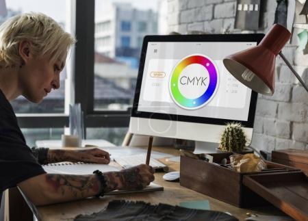 designer woman drawing in fashion studio
