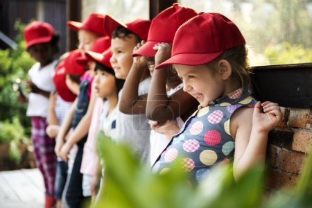 Group of kindergarten outdoors