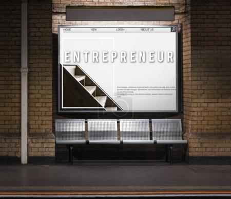 Banner on subway station Showing Advertising