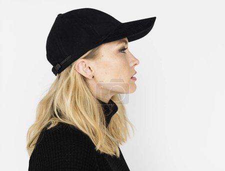 beautiful blonde woman face profile