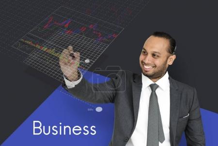 businessman holding pen and writing