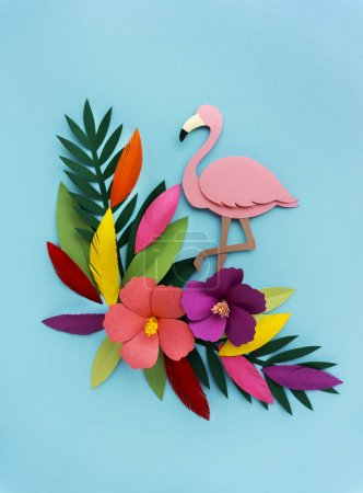 paper craft Flamingo and plants