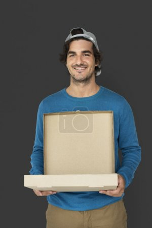 Man carrying pizza box