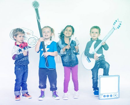 children playing on musical instruments