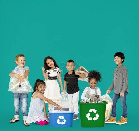 Kids Recycling Garbage
