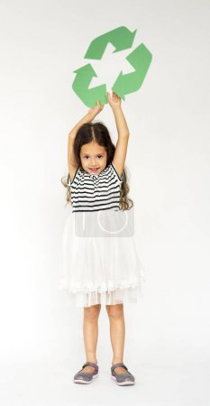 Girl Holding Recycle Symbol