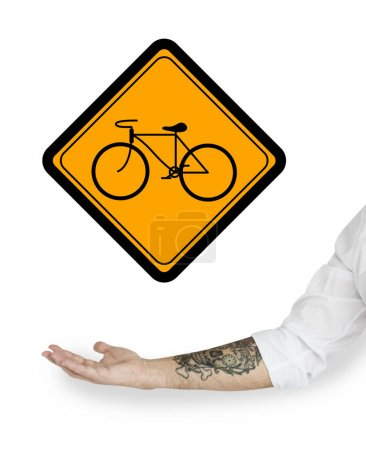Showing Bike Sign