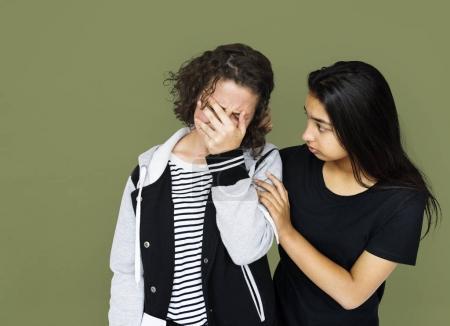 Friends crying sadness