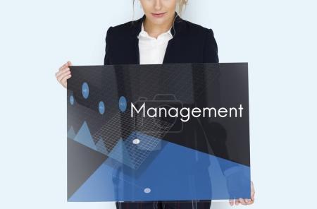 Businesswoman holding banner