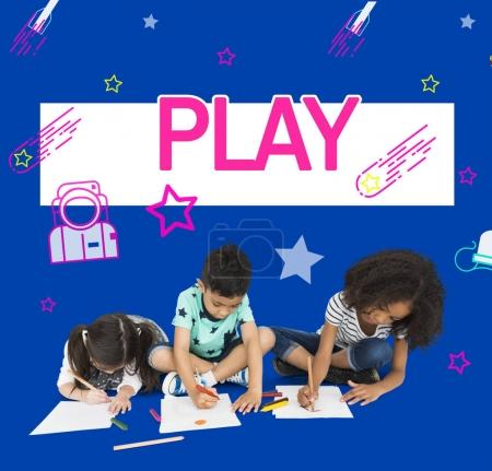 children drawing on papers