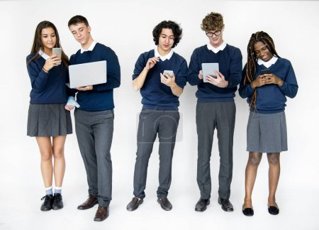 students using digital devices