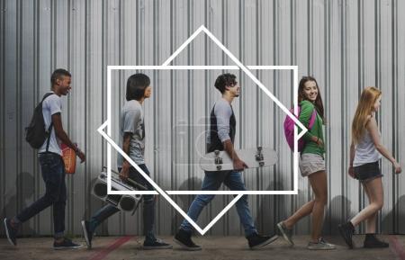 Diverse teenagers walking