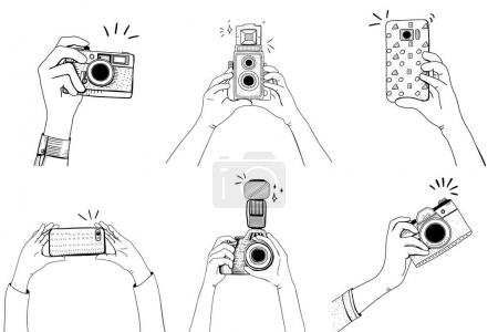 illustration of hands taking photo with vintage cameras