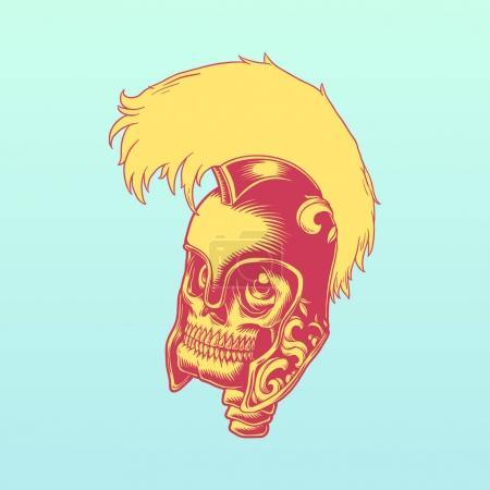 Illustration drawing style skull in a Roman helmet