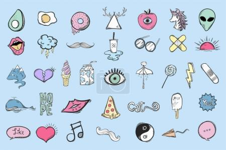 Set of cute and cool icons