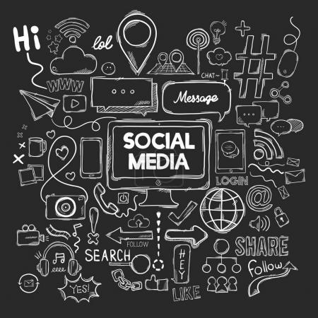 Vector set of social media icons