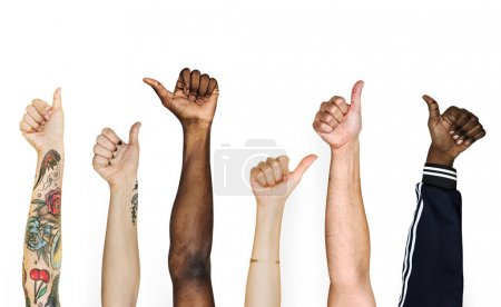 Photo for Cropped image of people awesome hands raised up - Royalty Free Image
