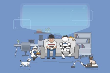 Futuristic home with robots