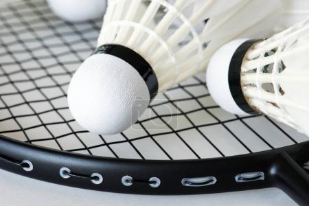 Closeup of shuttlecock and racket, original photoset