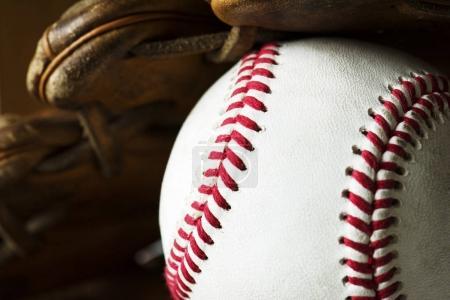 Closeup of baseball ball concept