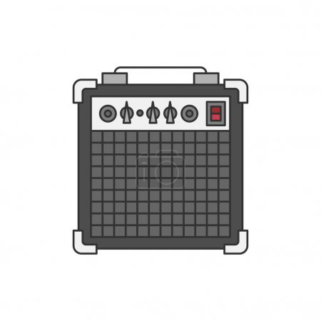 Bass or guitar amplifier illustration isolated on white