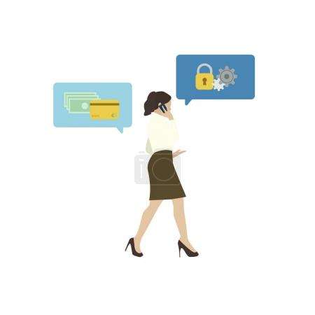 Illustrated business woman with online banking security