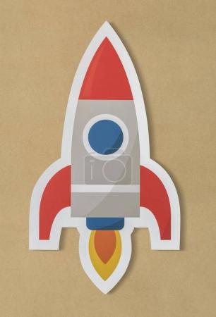 Business launching rocket ship icon