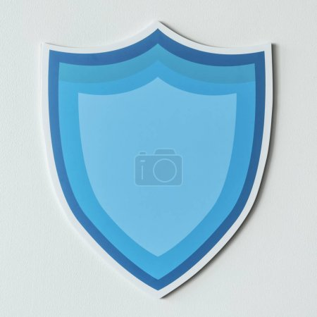 Blue protection shield icon isolated