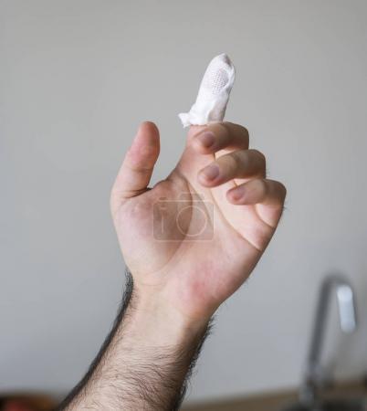 Man injured his finger, home safety concept