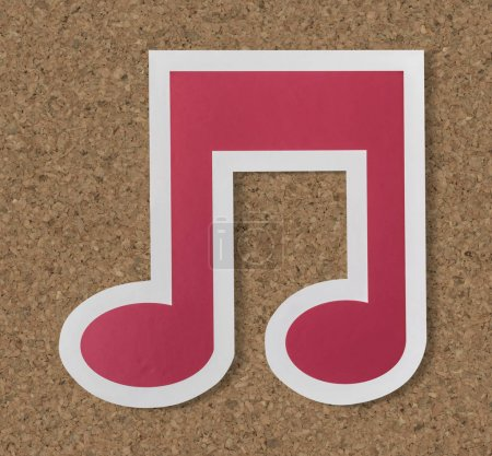 Music note audio cut out icon