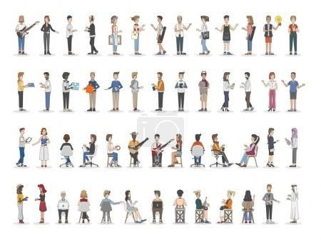 Photo for Collection of diverse illustrated people - Royalty Free Image