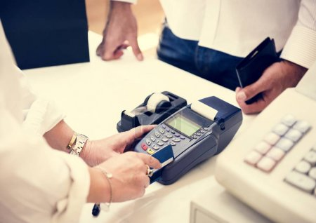 Credit card payment in shop